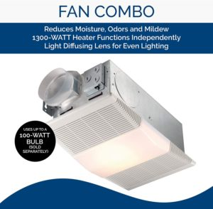 Bath Fan with Heater and Fluorescent Light